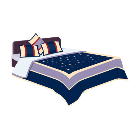 counterpane: Mens bed with a blue bed and stars.Bed single icon in cartoon style vector symbol stock illustration. Illustration