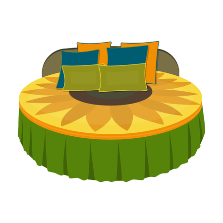 Unusual round bed.Bed with cushions in the form of a yellow flower.Bed single icon in cartoon style vector symbol stock illustration.