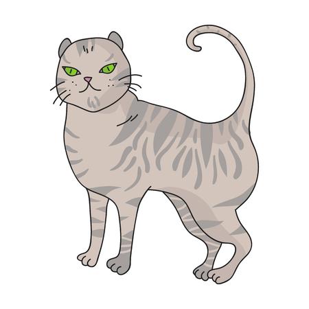 Brits korthaar pictogram in cartoon stijl geïsoleerd op een witte achtergrond. Kat broedt symbool voorraad vectorillustratie.
