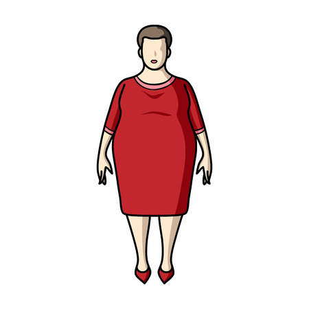 Fat woman in a red dress.A fat woman because of diabetes.Diabetes single icon in cartoon style vector symbol stock illustration.