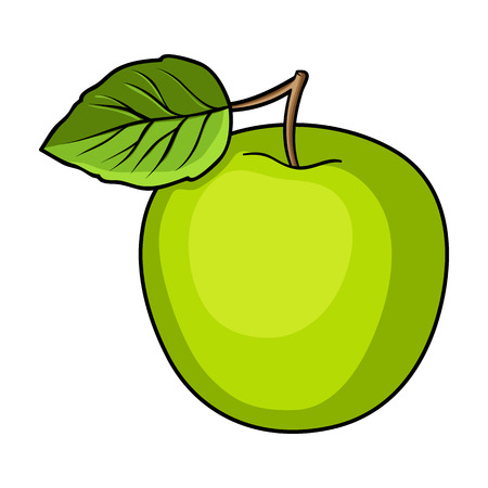 Green Apple with leaf.Proper diet for diabetes.Diabetes single icon in cartoon style vector symbol stock illustration. Illustration