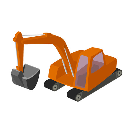 Orange excavator with a bucket . Machine for mine.Mine Industry single icon in cartoon style vector symbol stock illustration.