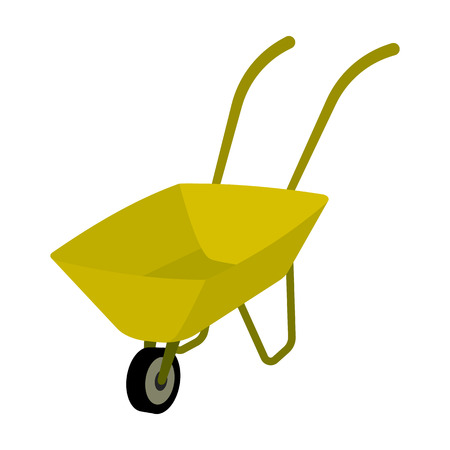 Green cart with wheel and handles. The means of transportation of small cargoes on the territory of the mines.Mine Industry single icon in cartoon style vector symbol stock illustration.