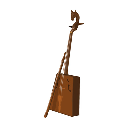 mongolia horse: Wooden musical instruments of Mongol .National music of the Mongolian.Mongolia single icon in cartoon style vector symbol stock illustration. Illustration