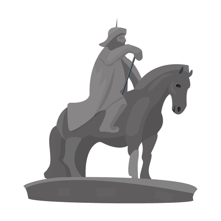 The monument to the military of Mongolia on horseback.The statue stands in Mongolia.Mongolia single icon in cartoon style vector symbol stock illustration.