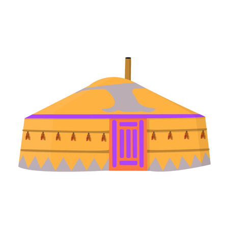 mongols: Tent in the Mongolian patterns.Mongolian tent.Housing the ancient Mongols.Mongolia single icon in cartoon style vector symbol stock illustration.