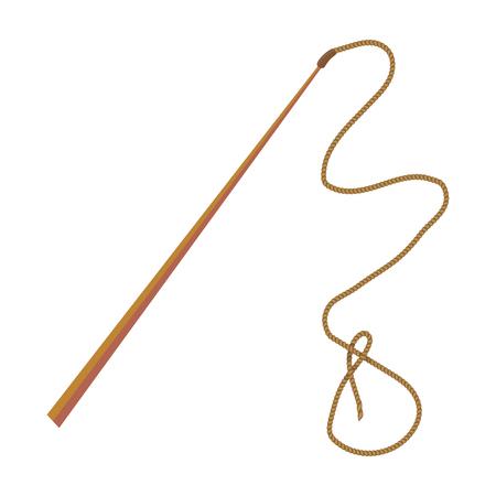 Mongolian whip.The whip is for herding cattle.Mongolia single icon in cartoon style vector symbol stock illustration. Illustration