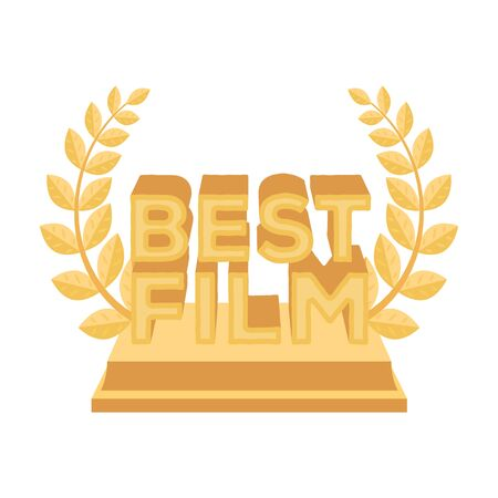 famous actress: Golden statue with a wreath and inscription.The prize for best film.Movie awards single icon in cartoon style vector symbol stock illustration.