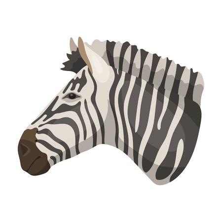 Zebra icon in cartoon style isolated on white background. Realistic animals symbol stock vector illustration.