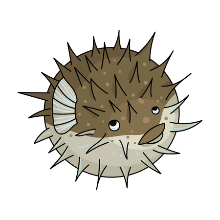 Porcupine fish icon in cartoon style isolated on white background. Sea animals symbol stock vector illustration.