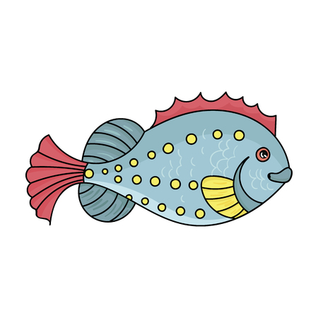 Sea fish icon in cartoon style isolated on white background. Sea animals symbol stock vector illustration.