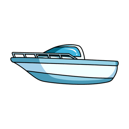 water: Blue metal boat.Police boat.A means of transportation on water.Ship and water transport single icon in cartoon style vector symbol stock illustration.