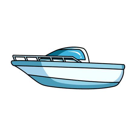 Blue metal boat.Police boat.A medio de transporte sobre el agua y el transporte water.Ship icono único de estilo de dibujos animados símbolo del vector de la ilustración.