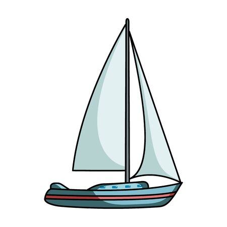 sailingboat: Sailboat for sailing.Boat to compete in sailing.Ship and water transport single icon in cartoon style vector symbol stock illustration.