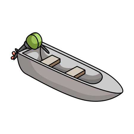 r transportation: Small metal boat with motor for fishing.Boat for river or lake fishing.Ship and water transport single icon in cartoon style vector symbol stock illustration. Illustration