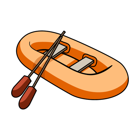 Orange rubber lifeboat.The boat, which weighs on the sides of large boats for the rescue.Ship and water transport single icon in cartoon style vector symbol stock illustration.