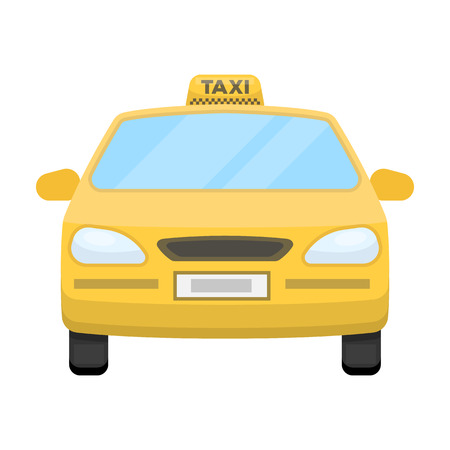 Yellow taxi car.Transport taxis for passengers. Taxi station single icon in cartoon style vector symbol stock illustration. Illustration