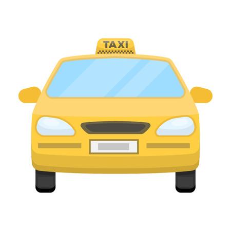 Gelbes Taxiauto. Transporttaxis für Passagiere. Einzelne Ikone der Taxistation in der Karikaturartvektorsymbol-Vorratillustration.