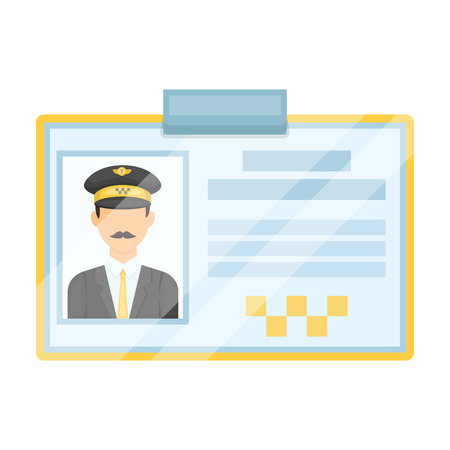 plastik: Driver document taxi.Plastik card taxi driver with photo Taxi station single icon in cartoon style vector symbol stock illustration.