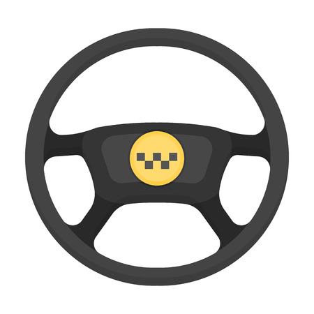 Black wheel with yellow emblem of taxi. The element to control the taxi car.Taxi station single icon in cartoon style vector symbol stock illustration. Illustration