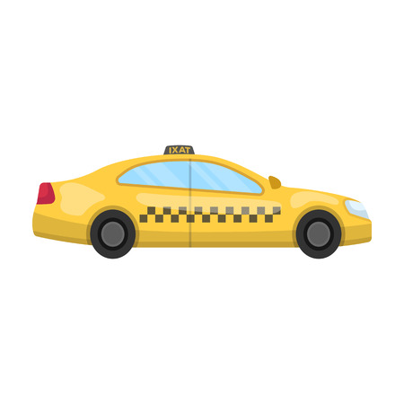 Yellow taxi car in profile.Transport taxi station for passengers. Taxi station single icon in cartoon style vector symbol stock illustration Illustration