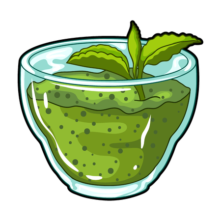 Fresh puree of greens with a mint leaf .Vegetarian Breakfast of greens.Vegetarian Dishes single icon in cartoon style vector symbol stock illustration. Illustration