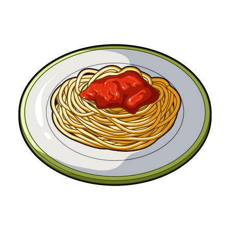 The dish in which wheat spaghetti with red sauce.Main dish vegetarian.Vegetarian Dishes single icon in cartoon style vector symbol stock illustration. Illustration