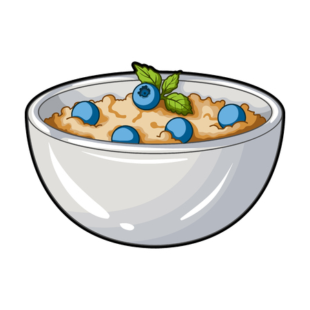 맛있는 채식 죽입니다. 채식 주의자 블루 베리에 대 한 냄비입니다. 식욕을 돋 우는 요리 단일 아이콘 만화 스타일 벡터 기호 재고 일러스트 레이 션. 일러스트