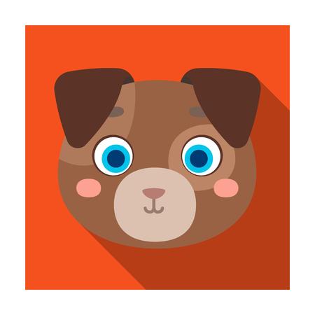 Dog muzzle icon in flat style isolated on white background. Animal muzzle symbol stock vector illustration.