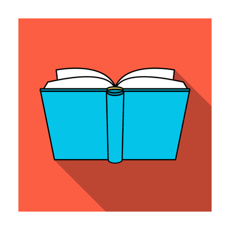 open magazine: Blue opened book icon in flat style isolated on white background. Books symbol stock vector illustration.
