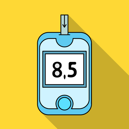 test results: A device for measuring the level of blood sugar.Equipping the patient with diabetes.Diabetes single icon in flat style vector symbol stock illustration. Illustration