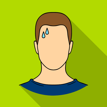 A sweaty man.The man is sweating from diabetes.Diabetes single icon in flat style vector symbol stock illustration. Illustration