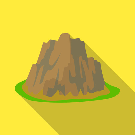 steep: High steep mountain with grass the dark colors with sharp spikes.Different mountains single icon in flat style vector symbol stock illustration. Illustration