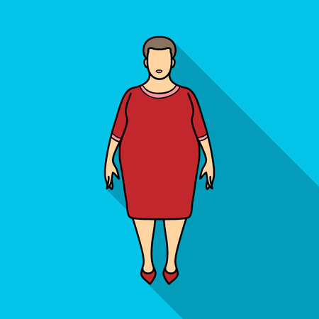 excess: Fat woman in a red dress.A fat woman because of diabetes.Diabetes single icon in flat style vector symbol stock illustration.