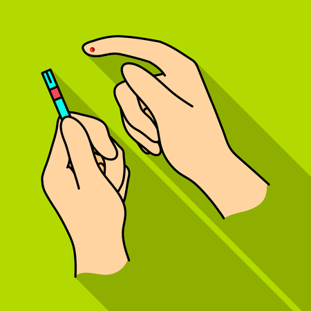 Test for quick measurement of blood sugar on a strip of paper.Diabetes single icon in flat style vector symbol stock illustration.