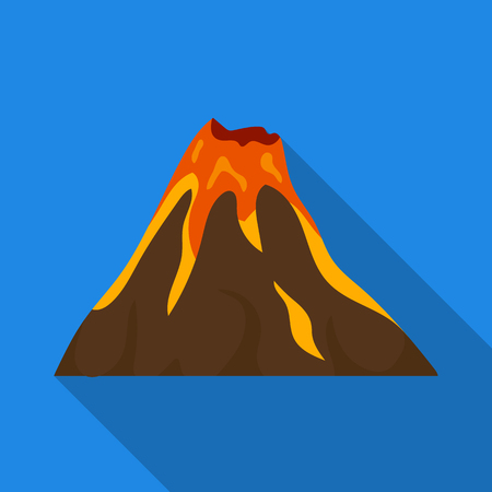 A fiery volcano.A mountain in which there is a volcanic eruption.Different mountains single icon in flat style vector symbol stock illustration.