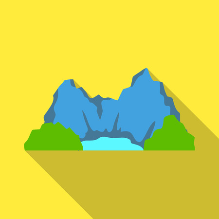 Blue mountain, under which flows the river.Different mountains single icon in flat style vector symbol stock illustration.