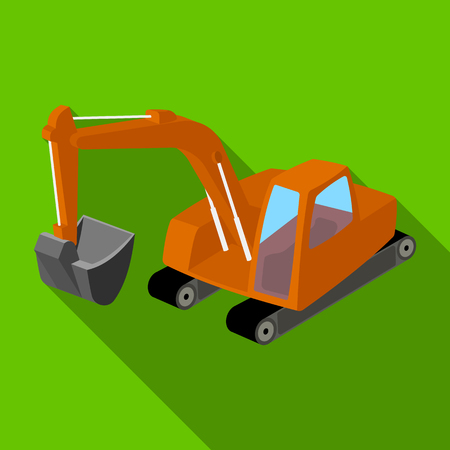 excavation: Orange excavator with a bucket . Machine for mine.Mine Industry single icon in flat style vector symbol stock illustration.