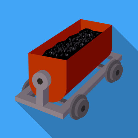 r transportation: The red cart on wheels for lifts minerals from deep mines.Mine Industry single icon in flat style vector symbol stock illustration.