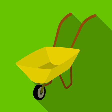 Green cart with wheel and handles. The means of transportation of small cargoes on the territory of the mines.Mine Industry single icon in flat style vector symbol stock illustration. Illustration