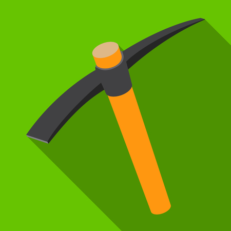 the miners: A wooden pickaxe with an iron tip.The tool that miners manually extract the minerals in the mine.Mine Industry single icon in flat style vector symbol stock illustration.