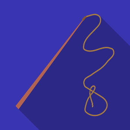 Mongolian whip.The whip is for herding cattle.Mongolia single icon in flat style vector symbol stock illustration.