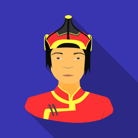 mongols: The Mongols in the helmet.Mongolian national protection.Mongolia single icon in flat style vector symbol stock illustration.
