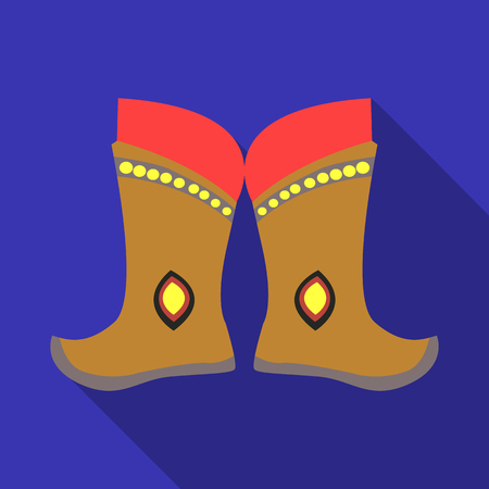 mongols: Military boots of the Mongols.part of the national dress of Mongolia.Mongolia single icon in flat style vector symbol stock illustration. Illustration