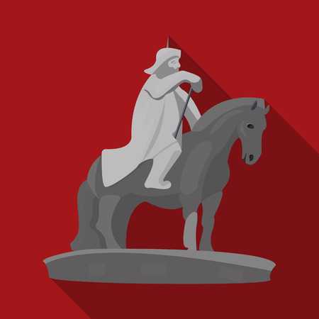 The monument to the military of Mongolia on horseback.The statue stands in Mongolia.Mongolia single icon in flat style vector symbol stock illustration.