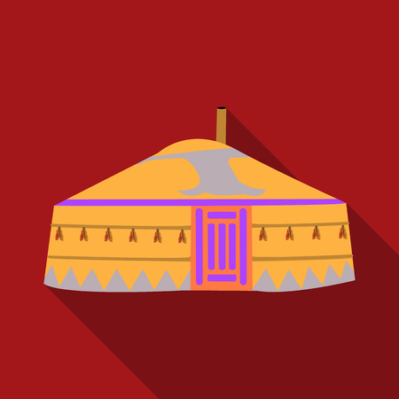 mongols: Tent in the Mongolian patterns.Mongolian tent.Housing the ancient Mongols.Mongolia single icon in flat style vector symbol stock illustration.