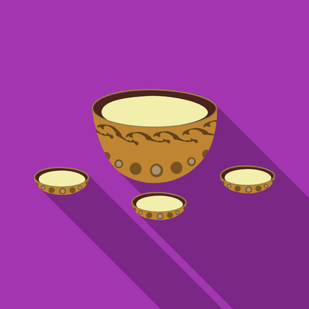 mongols: A plate with three cups and Mongolian ornaments.The national dish of the Mongols.Mongolia single icon in flat style vector symbol stock illustration. Illustration