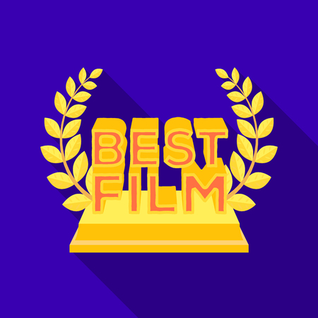 actress: Golden statue with a wreath and inscription.The prize for best film.Movie awards single icon in flat style vector symbol stock illustration. Illustration