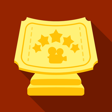 actress: Silver prize with star, and camera on a stand.Movie awards single icon in flat style vector symbol stock illustration.