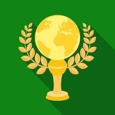 Golden planet with a wreath.The trophy for the best film about the Earth.Movie awards single icon in flat style vector symbol stock illustration. Illustration